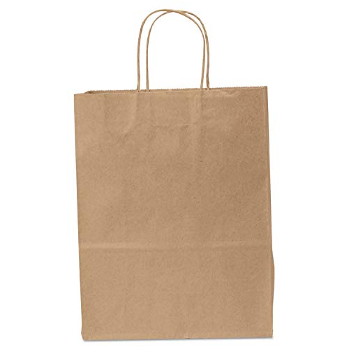 Duro 87124 Missy Natural Kraft Paper Shopping Bag with Handles, 10'' x 5'' x 13'', 60lbs, 250/Bundle