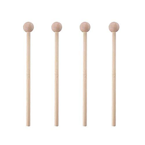 2 pares de palos de percusión de madera con cabezal redondo para cilindro energético Xylophone bloque de madera y campanas