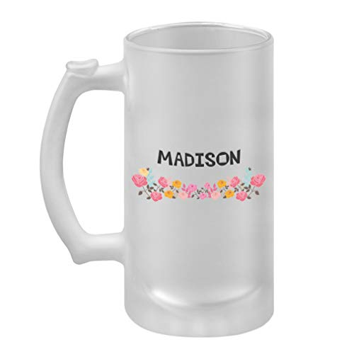 Personalized Custom Text Flower Frame Girls Name Frosted Glass Stein Beer Mug