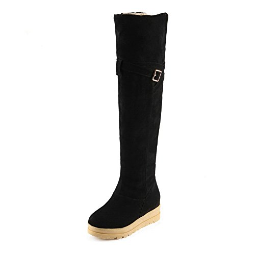 Balamasa Meisjes Verhogen Binnen Bezaaide Bergkoppen Metalen Gespen Frosted Boots Zwart