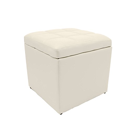 Magshion* 2 Sizes-Unfold Leather Storage Ottoman Bench Footstool Cocktail Seat Coffee End Table (Square, Ivory)