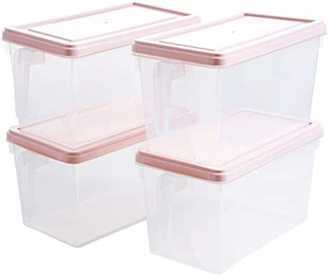 XPHZHQ-box Caja Caja De Almacenamiento De La Cocina Recipiente De Almacenamiento De Alimentos El PláStico Transparente con Mango Se Puede Apilar - Fruta/Verdura Refrigerador 4 Juegos +: Amazon.es: Hogar