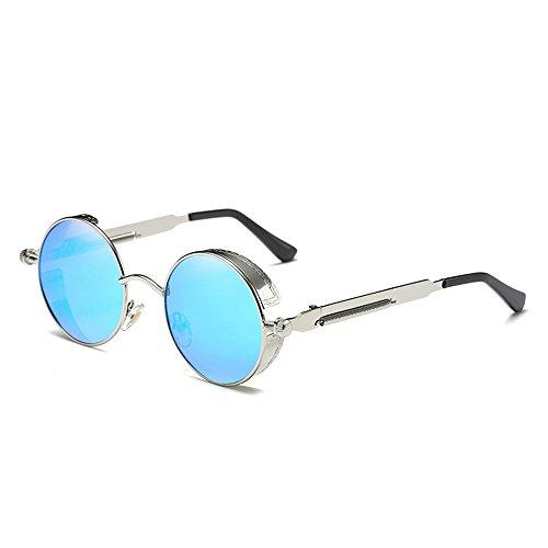 Circle para BAINASIQI Azul vintage Unisex Gafas Sol Round de mujeres Plateado UV400 la Steampunk Gafas hombres marca Polarizadas sol de y de Diseño qgTxZwq