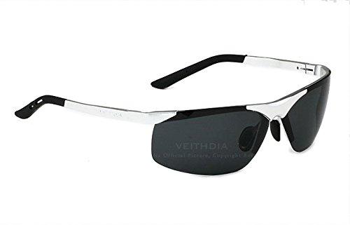 7aec9fa9d0e14 VEITHDIA hombre polarizada gafas de sol sin montura rectangular espejo de  conducción deportiva para hombre gafas de sol para hombre 6501 plateado  Silver ...