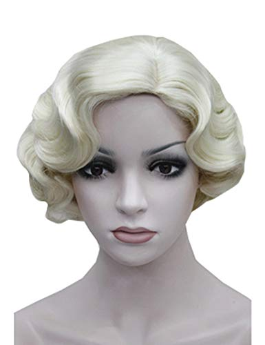 (ROLECOS Flapper Wig Short Wavy Marilyn Monroe Costume Wig Christmas Party Cosplay -3)