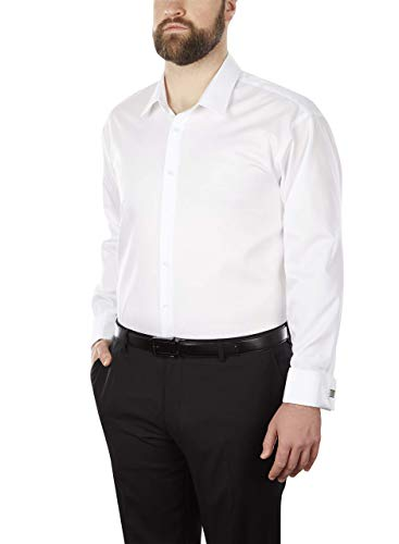 (Calvin Klein Men's Big and Tall Dress Shirt Non Iron Solid, White, 18