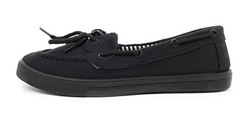 Blue Berry EASY21 Canvas Schnürschuh Flacher Slip on Boot Bequemer Toe Sneaker Tennisschuh Alles schwarz