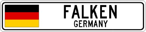 FALKEN, GERMANY - Germany Flag Aluminum City Sign - 4 x 18 Inches
