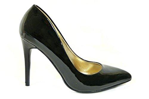 SKOS ,  Mädchen Damen Durchgängies Plateau Sandalen mit Keilabsatz Black (5506-1)