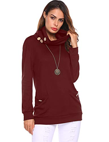 Halife Women's Cowl Neck Tunic Tops with Pockets Long Sleeve Sweatshirts Blouse with Buttons Wine Red (Cowl Neck Chain)