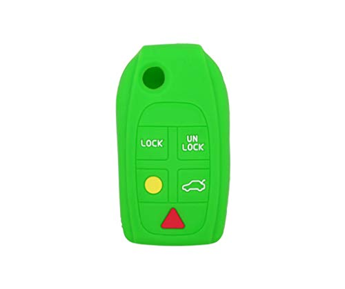 (SEGADEN Silicone Cover Protector Case Skin Jacket fit for VOLVO 5 Button Flip Remote Key Fob CV4781 Light Green)