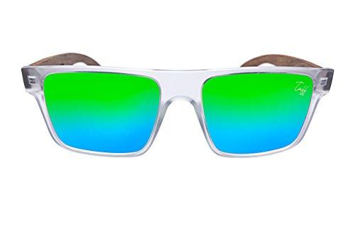 Tuff Sunglasses Manaus Rectangular Old Zebra Wood Sunglasses Polarized Green Mirror - Tuff Sunglasses