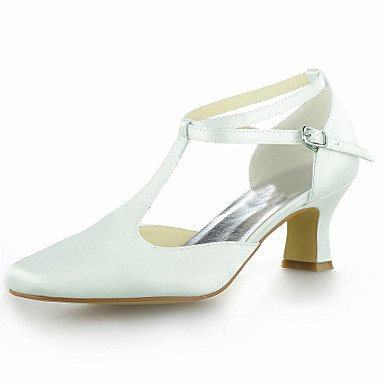 Black Champagne Wedding Pink Heel CN34 Satin Buckle Kitten Ivory T US5 Strap White EU35 Silver Blue UK3 Red Summer Purple Yellow Women'S InTwpq88
