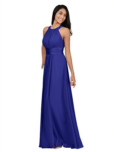 Alicepub Bridesmaid Maxi Dresses Long for Women Formal Evening Party Prom Gown, Sapphire, US16