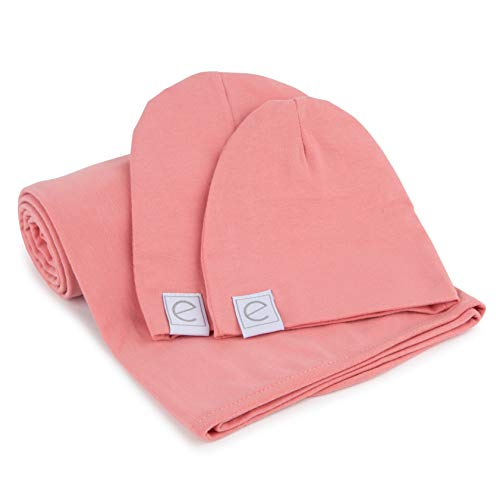 (Cotton Knit Jersey Swaddle Blanket and 2 Beanie Baby Hats Gift Set, Large Receiving Blanket by Ely's & Co (Rose)