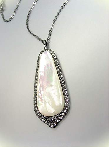 Exquisite Mother Of Pearl Smoky Quartz Crystals Hematite Gun Metal Necklace For Women