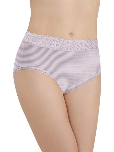 Vanity Fair Women's Flattering Lace Brief Panty 13281, Earthy Grey Stripe, -