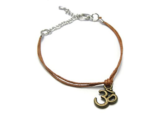 ZVACE Jewelry Tibetan OM Charm Pendant Small Bracelet Adjustable (Brown), SS17.1
