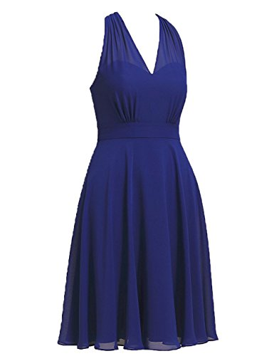 Robes Courtes De Demoiselle D'honneur Licol Femmes Cdress Mousseline Bal Robes De Soirée V-cou Robe De Soirée De Mariage De Turquoise