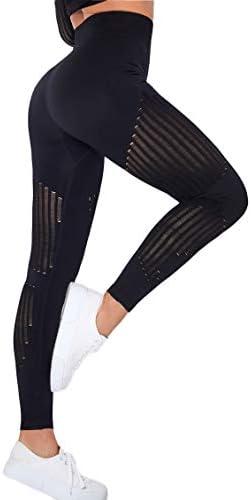 SLIMBELLE Women Seamless Workout Leggings High Waist Butt Lifting Yoga Pants Hollow Out Running Tights Tummy Control