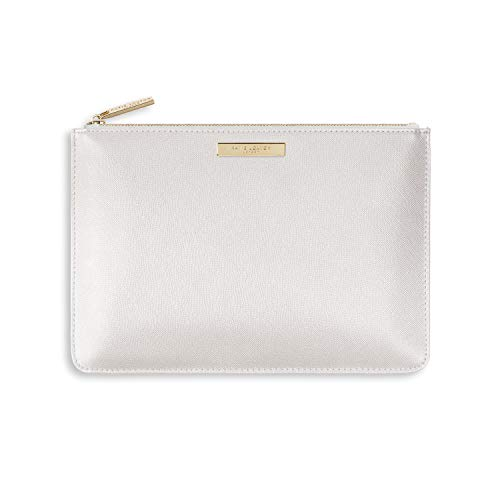 Katie Loxton Bridesmaid Women's Vegan Leather Clutch Secret Perfect Pouch Metallic White