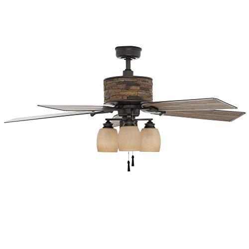 (Hampton Bay YG205-NI Ellijay 52 in. Indoor/Outdoor Natural Iron Ceiling Fan)