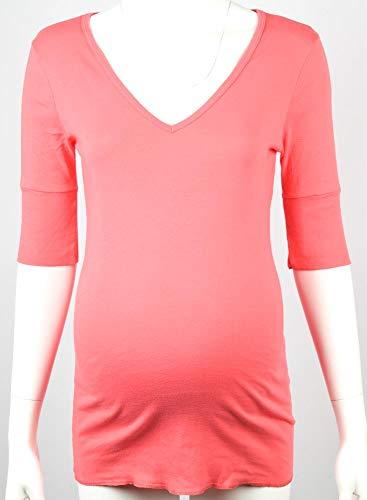 Michael Stars Maternity Passion Fruit Pink OSFA Deep Vneck tee Shirt top