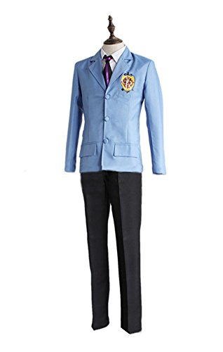 Wish Costume Shop Halloween Party Cosplay Costume Fujioka Haruhi Cosplay Costume King High School Uniform (XL, Blue) ()