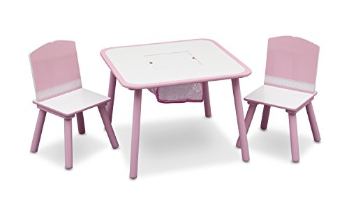 Delta Children Wooden Children's Table and Chair Set (Pink and White)