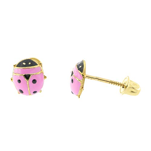 14k Yellow Gold Pink Enamel Ladybug Safety Screwback Stud Earrings, 6.5mm ()