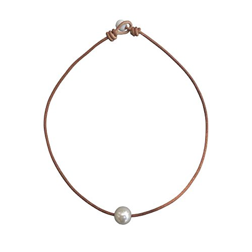 """White Single 12 mm Artificial Pearl Handmade Choker Necklaces for Women on Black Original Leather Cord (16"""" Brown)"""