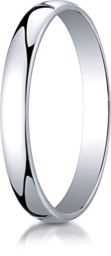 Benchmark 14K White Gold 3mm Low Dome Light Wedding Band Ring , Size 9.5 ()
