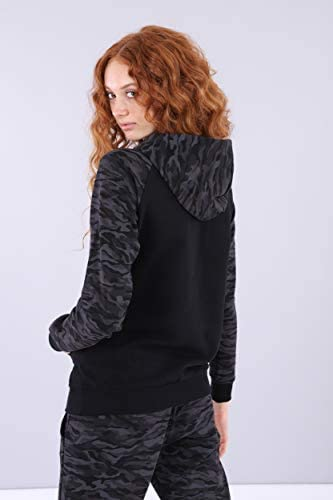 FREDDY Sweatshirt, Camouflage und Glanz Print - Black-Mimetic Allover Black - Extra Small