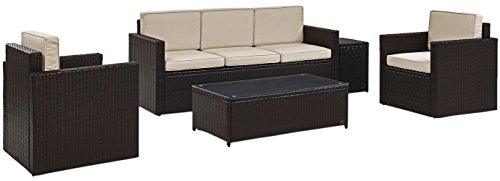 Resin 5 Piece Patio (Crosley Furniture Palm Harbor 5-Piece Outdoor Wicker Conversation Set with Sand Cushions - Brown)