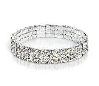Sorted by Rows Wedding Bridal Clear Crystal Rhinestones Eclectic Bracelet (3-Row) ()