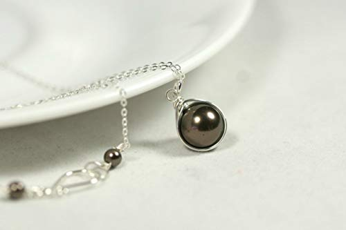 Sterling Silver Chocolate Brown Pearl Necklace with Swarovski Pearl Wire Wrapped