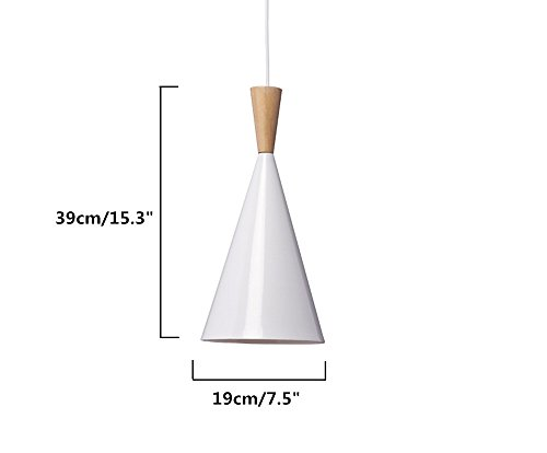 BOKT 60W Single Head Ceiling Pendant Light fixtures Minimalist White Aluminum Hanging Chandelier Lighting for Kitchen Living Room Bedroom Home Decor (Style A) by BOKT (Image #1)