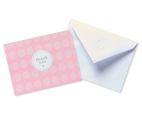 American Greetings Pink Dots Thank-You Cards and White Envelopes, 20-Count