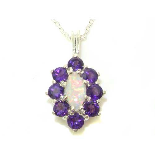 Ladies Solid 925 Sterling Silver Natural Opal & Amethyst Cluster Pendant Necklace
