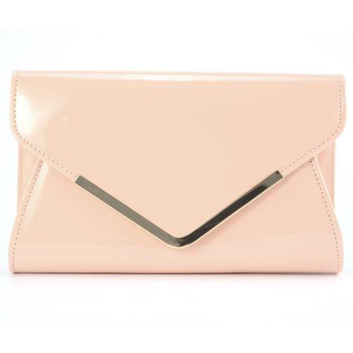 The Pecan Man Women Handbag Nude Pink Leather Metal-Trim Magnetic Flap Envelope Clutch