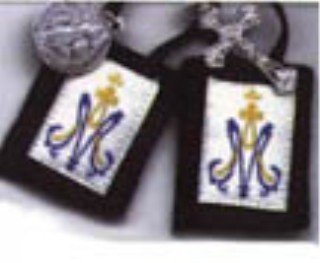 Children's Brown Scapular with Blue and Gold Marian Emblem ()