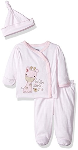 Infants Footed Pant - Gerber Baby Girl 3 Piece Side Snap Mitten Cuff Shirt, Footed Pant & Cap, Giraffe, Newborn