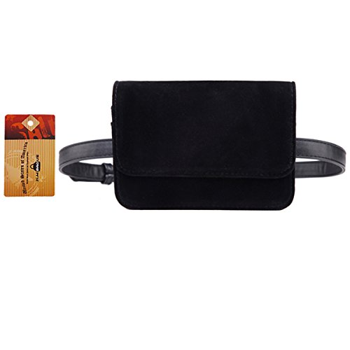 Vinyl Waist Belt - ZLMBAGUS Women Velvet Vintage Party Tote Handbag Solid Style Shop Waist Bag Black