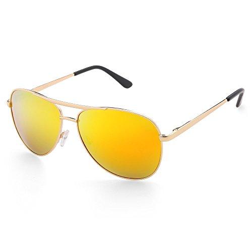 Aviator Sunglasses for Men, Polarized Gold Mirrored Lens, Cool Military Gunmetal Frame, UV Protection, FDA Approved