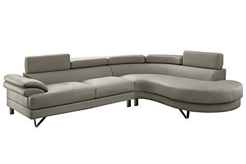 Poundex F6984 Bobkona Isidro Faux Leather sectional, Light Grey