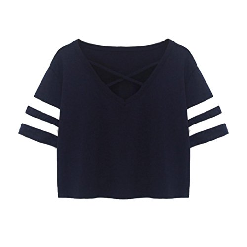 Old Navy Womens Pullover (Mikey Store 2018 Clearance Women Loose Tops Ladies Short T-Shirt Casual Blouse (Medium, Navy))