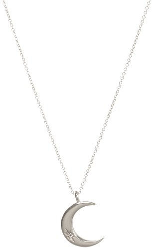 Dogeared Women's We Found Each Other, Crecent Moon with Crystal Necklace Sterling Silver One Size