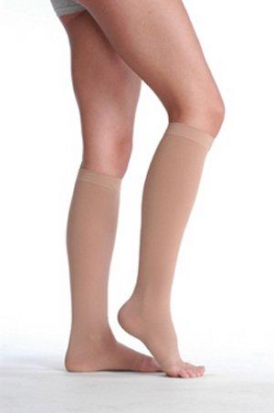 Juzo Varin Knee High 30-40mmHg Open Toe w/ 5cm Silicone Dot Band, I, Beige