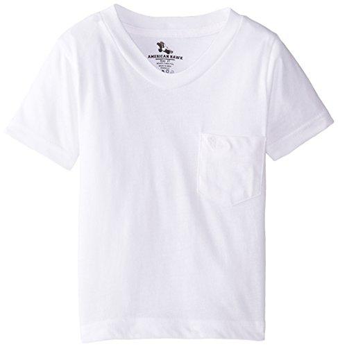 American Hawk Little Boys' Solid V-Neck T-Shirt, White, 5/6