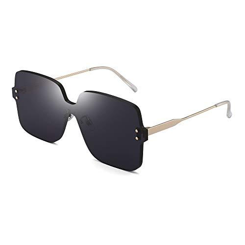 JIM HALO Oversized Rimless Sunglasses Women Square Transparent Candy Color Lens Grey